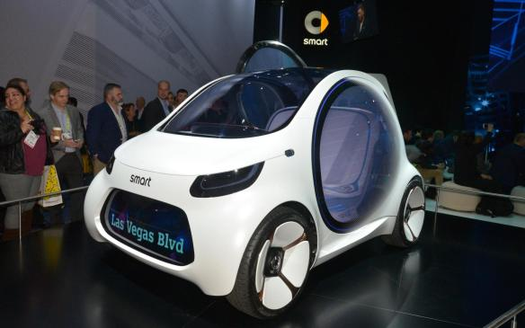 """<p>The Smart Vision EQ Fortwo shows the flexibility of the autonomous Mercedes-Benz technology, by adapting it to a city car for future urban mobility — an <a href=""""https://autofile.ca/en-ca/auto-news/smart-takes-driverless-car-to-new-level"""" rel=""""noopener noreferrer"""" target=""""_blank"""">electric, autonomous 2-seater without a steering wheel or pedals</a>.</p>"""