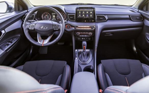 <p>2019 Hyundai Veloster interior</p>
