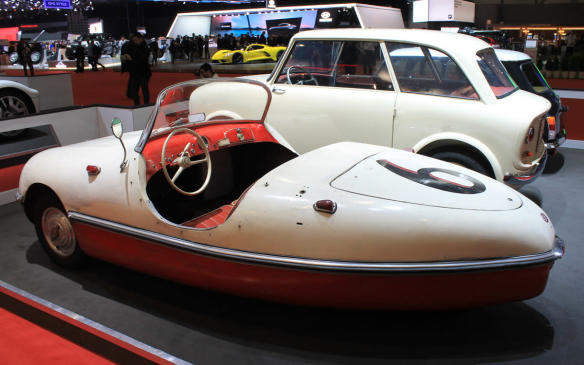 <p>Just as small as the Microlino, but not really as smart and certainly less comfortable to drive, is the Belcar, a 230 cc 1-cylinder 3-wheeler made by Swiss company A. Grünhut & Co. in 1956. Behind it in this image is a not-much-bigger Soletta 750 – a Swiss 4-seat concept car also from 1956 built on a Renault 4CV chassis.</p>