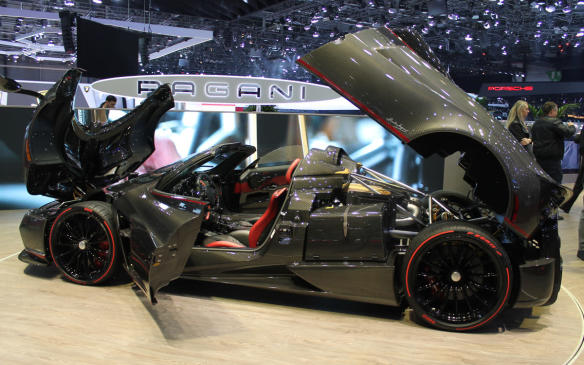 <p>The world's most exotic automobiles are found on the floor at Geneva, such as this Pagani Huayra Roadster. The model's been in production for most of the last six years with a price tag in Europe of €850,000 ($1.37 million Canadian), but it still draws gasps from onlookers when its carbon fibre panels are lifted.</p>
