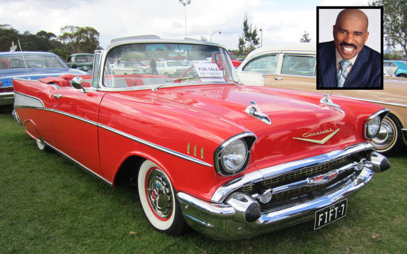 """<p>One of the iconic American cars, the 1957 Chevrolet Bel Air is a compilation of """"crazy little design ideas that together make up a great car,"""" says Jerry before he picks up comedian/show host Steve Harvey in what Harvey admits is his dream car. The two end up discussing how a stand-up routine is itself a compilation of crazy little bits that, if they work right, end up making a great show. And just like a great show, people remember it and it puts smiles on their faces when they do. (Credit: Wikimedia Commons/Sicnag)</p>"""