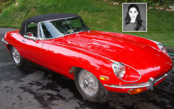 """<p>Jerry says the 1968 Jaguar E-Type Series 2 looks Sarah Silverman, equating the two in the way they """"project power, grace and style,"""" though she asks if that means she reminds him of an """"elitist douchebag."""" Silverman admits she loves Jaguars but she's not a car person and doesn't believe in spending money on cars. She can appreciate the slinky and sexy looks of the convertible, but she's mostly taken in by all the switches on the instrument panel, not because of the array but because she loves to press all buttons. (Credit: Wikimedia Commons/Brooksbro69)</p>"""