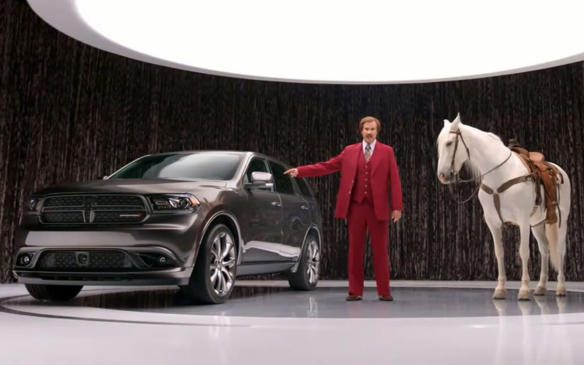 <p>With the long-awaited debut of Anchorman 2, Chrysler hired Will Ferrell's Ron Burgundy character for a marketing campaign for the Dodge Durango, in which the no-filter newsperson touts vechicle features such as the fold-flat rear seats, large glove box and engine horsepower, in the character's inimitable cliché-laden delivery.</p>