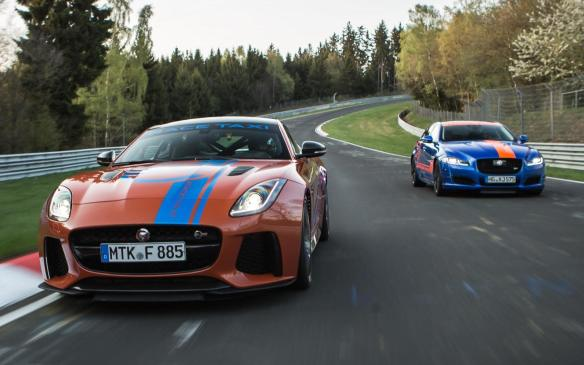 <p>Jaguar F-TYPE SVR (left) and XJR575 Race Taxis</p>