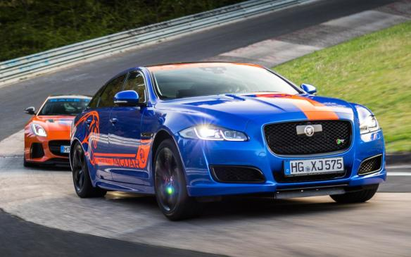 <p>Jaguar XJR575 Race Taxi leads F-TYPE SVR Race Taxi</p>