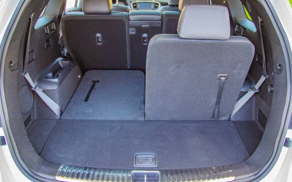 <p>Sometimes overlooked is the ease of seat flexibility in SUVs. Folding the Kia Sorento second- and third-rows were simple with a tug here and a pull there, which can be complicated in other 3-row vehicles. Both rows fold flat without taking off any headrests or sliding rows forward, allowing for plenty of cargo room throughout.</p>