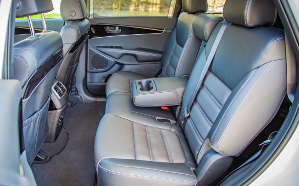<p>Along with the addition of three rows in the LX trim, Sorentos are packaged with leather seating. The seating improves up the trim line with premium leather in the SX that I found to be more comfortable, thanks to its seat bolsters, than the Nappa leather in the SXL.</p>