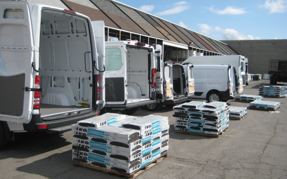 <p>As part of the evaluation process, all eight vans were loaded with a skid of shingles that approached the cargo capacity of each truck. Then the vans set off on an afternoon of driving on highways, secondary roads and urban streets to determine how each vehicle coped with its load in terms of ride, handling, braking and powertrain response.</p>