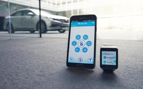 "<p>Hyundai also announced its Blue Link<sup> </sup>smartwatch app, which allows features like remote start and service information to be quickly accessed through devices like smartwatches and smartphones. The wearer simply taps an icon or uses voice commands to execute remote functions. The Blue Link smartwatch app allows owners to remote start, lock and unlock doors as well as find their car in a crowded parking lot. Pushing the microphone icon on the watch activates the voice function, where the driver can execute commands such as ""Start my car,"" ""Lock my car"" or ""Find my car.""</p>"