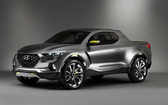 "<strong>Hyundai Santa Cruz Concept</strong> Hyundai has been leery of jumping into the pickup truck market, but its new Santa Cruz ""crossover truck"" concept could provide a safe point of entry. In a modern take on the Ford Ranchero and Chevrolet El Camino, the Santa Cruz offers plenty of neat usable features, like rear-hinged rear doors and plenty of tie-downs around the bed and rails, while the tailgate can slide out – like a drawer – to accommodate longer items. Perhaps most intriguingly, the Santa Cruz uses a 2.0-litre turbo-diesel four-cylinder engine with 190 horsepower and 300 lb-ft of torque, combined with HTRAC all-wheel drive. No word on which platform it would be based on, but Hyundai says it offers ""typical CUV driving character"" so almost certainly a front-drive unibody rather than a separate body-on-frame construction like traditional pickups."