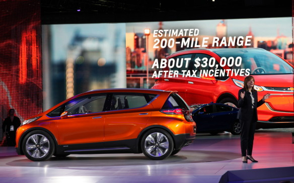 "<p><strong>Chevrolet Bolt Concept</strong></p> <p>The much-rumoured standalone electric-vehicle from GM with over 320 kilometres of range has been previewed by the Chevrolet Bolt Concept, a five-passenger hatchback that shares plenty of design inspiration not only from the equally new '16 Volt but also several vehicles from cross-town rivals at Ford. If it hits production, the goal would be for the Bolt EV to cost around $30,000 US. Unlike its own California-only Spark EV ""compliance car"" the Bolt production version would be offered in all 50 US states, and global markets, which presumably would include Canada too.</p>"