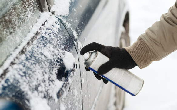 <p>Locks can become frozen if moisture has been trapped in the mechanism. Don't use more moisture (i.e. - hot water) to thaw them out. Try heating the key with a cigarette lighter or carry a little container of lock de-icer with you – obviously not inside the locked vehicle!</p>