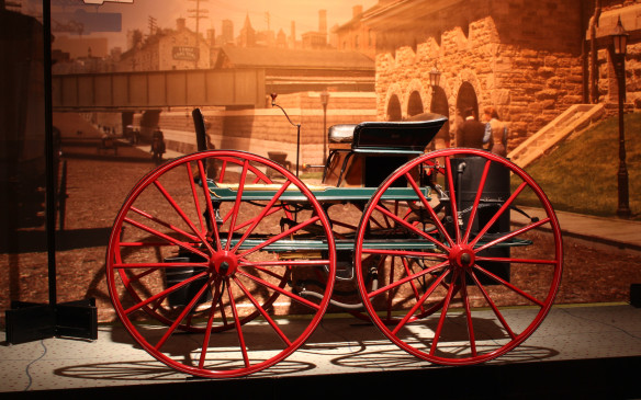 <p>The visual story begins withwhat is believed to bethe first automobile designed and constructed in Canada.Henry Seth Taylor, a jeweller and clockmaker in Stanstead, Quebec, designed and built this Steam Buggy in 1867, predating even the Benz Patentwagen.Taylor unveiled the car at the Stanstead Fall Fair and drove it around town– shortly before crashing it into a creek.It now normally resides at theCanada Science and Technology Museum in Ottawa, ON.</p>