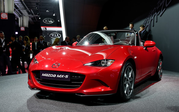 <p>Revealed earlier in a simultaneous three-city global launch, Mazda's fourth-generation MX-5 (Miata/Roadster) made its public debut in Paris. Approximately 100 kg lighter and more than 100 mm shorter than its predecessor, it incorporates Mazda's full range of SkyActiv technologies including, in North America, a 2.0-litre SkyActiv G four-cylinder gasoline engine. No power figures have been released but in the Mazda3, that engine is rated at 155 horsepower and 150 lb-ft of torque. A six-speed SkyActiv-MT manual transmission will be standard with a six-speed SkyActiv-At automatic optional. The new MX-5 will go on sale in mid-2015.</p>