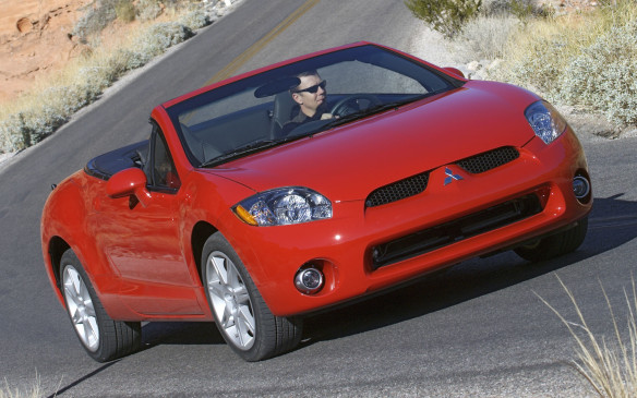 <p>2007-10 Mitsubishi Eclipse Spyder</p> <p>Got an itch only a convertible can scratch? The Mitsubishi Eclipse Spyder not only has a cool handle, it has a swoopy profile to match. With its better-than-average materials inside, the sculpted cockpit is as appealing as its shapely body. The two-place rear bench is strictly a kids-only zone, however. The insulated three-layer convertible top folds down in mere seconds at the touch of a button, but the small rear window hampers the view out back.<br />The GS model is (under)powered by a 162- horsepower 2.4-litre four-cylinder tied to a five-speed manual or optional four-speed automatic transmission, while the GT harnesses a 260- horsepower 3.8-litre V-6 with a six-speed manual or optional five-speed autobox. The Eclipse invites stoplight challenges, so be sure to spring for the V-6. Reported setbacks include a truculent air conditioner, creaks and rattles in the instrument panel and paintwork that may chip and scratch a little too easily. The turning radius is a tad too big for what is supposed to be a nimble sporty car.</p> <p></p>