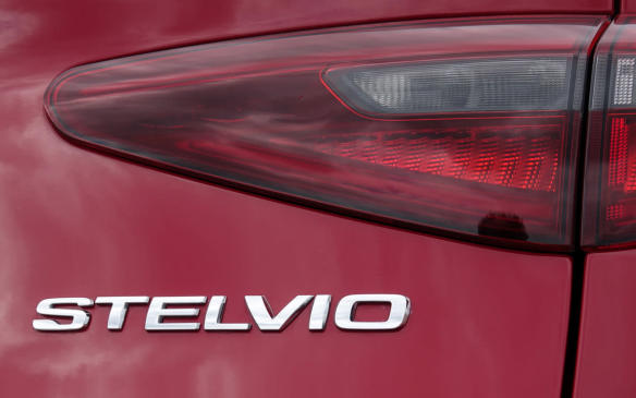 <p>2018 Alfa Romeo Stelvio Quadrifoglio nameplate</p>
