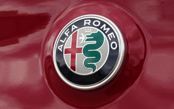 <p>Alfa Romeo crest on 2018 Alfa Romeo Stelvio Quadrifoglio</p>
