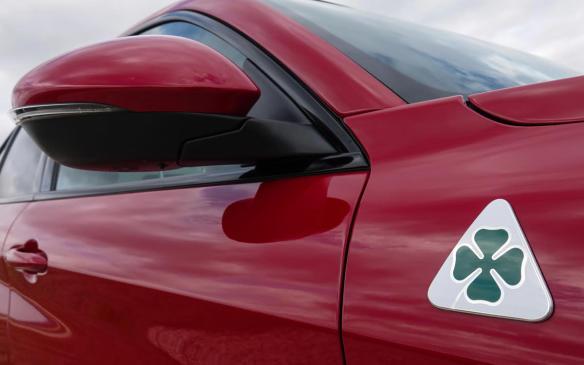 <p>2018 Alfa Romeo Stelvio Quadrifoglio QV badge</p>
