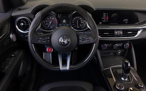 <p>2018 Alfa Romeo Stelvio Quadrifoglio interior</p>