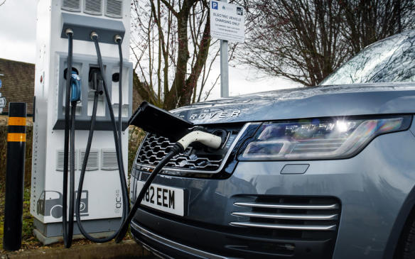 <p>Range Rover PHEV plugged in</p>