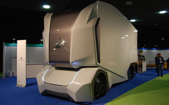 <p>No this is not a Zamboni. It is the Swedish company Einride's T-pod and it isintended to be the first transport vehicle designed and developed for the autonomous electric commercial vehicle market. Its batteryis said to last up to 190 km, it has no driver compartment (as we can see), and it is completely open in the rear for cargo. Weird - but really cool!</p>