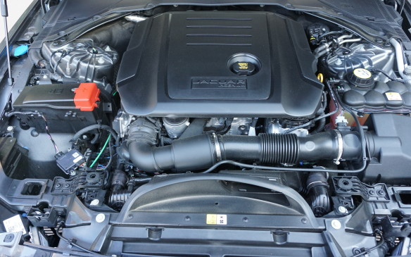 <p>Unlike turbocharged engines, Jaguar's supercharged gasoline V-6 is free from launch lag, but it doesn't compensate as well as a turbo does for altitude power loss. In both XE and F-Pace the V-6 performs with a unique, sonorous snarl, though we detected a hint of abrasiveness in the middle rev range with the hammer down.</p>
