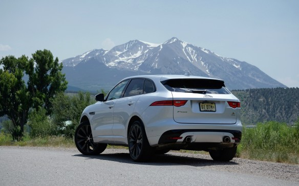 <p>This F-Pace is the top-o'-line S model, with monstrous optional 22-inch wheels (20s are standard) and the 380-horse engine. Jaguar claims 0-100 km/h in 5.5 sec with this engine, 5.8 with the 340 hp V-6, and 8.7 sec for the base diesel. As with its peers, bush-bashing is not in F-Pace's mandate, though it does have a clean underside and better-than-most ground clearance.</p>