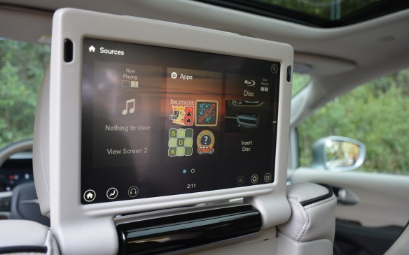 <p>Back seat passengers can enjoy a class-exclusive UConnect Theatre entertainment system, where the kids or adults can watch movies, play games, or connect to their mobile phones.</p>