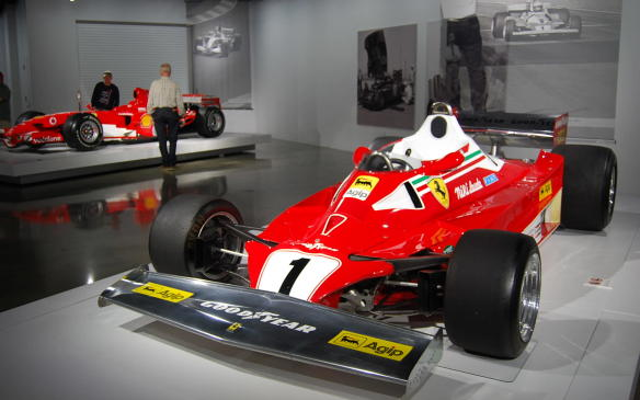 <p>Flash forward a couple decades to one of the most recognizable of all Ferrari Formula 1 cars. The 312 T was introduced in 1974 and continued in different variants until 1980. This 312 T2, wears the #1 of reigning World Champion Niki Lauda, who drove it to wins in both the Belgian and Monaco Grands Prix in 1976.</p>