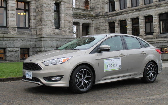 <p>It was difficult to believe the Ford had the smallest engine on the EcoRun fleet – just three cylinders in a 1.0-litre package – but its EcoBoost technology sips fuel without compromising the drive. A manual transmission helped make sure the car was always in the right gear on B.C.'s hills to not waste gas.</p>