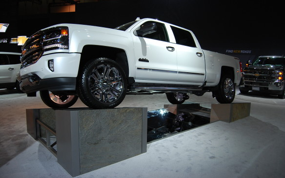 <p>For those show visitors interested in what's under the skin of their vehicles - look no further.  Chevrolet has a few different displays to get you looking up underneath their trucks.</p>
