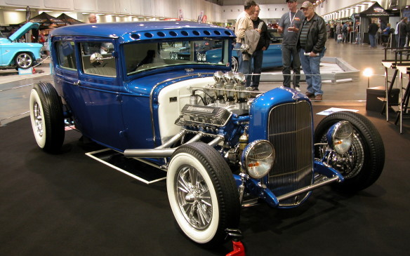 <p>Chris Longhouse's stunning blue 1930 Ford Model A hot rod is powered by a 1949 Cadillac engine fitted with '55 Cadillac cylinder heads.</p>