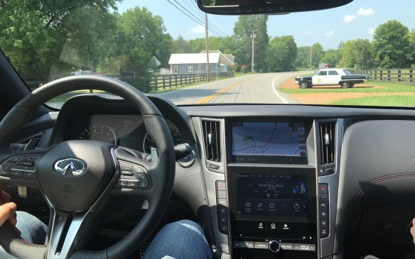 <p>We drove on some lovely roads, but there wasn't the opportunity to really stretch the Q50's legs and evaluate the car's handling – police in Tennessee are quick to enforce the state's speed limits, even pretend police.</p>