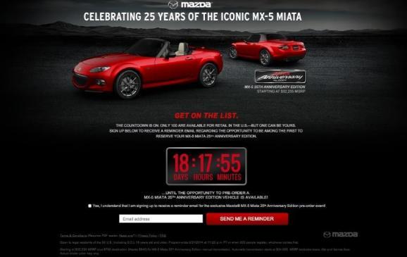 Miata 25 anniversary microsite