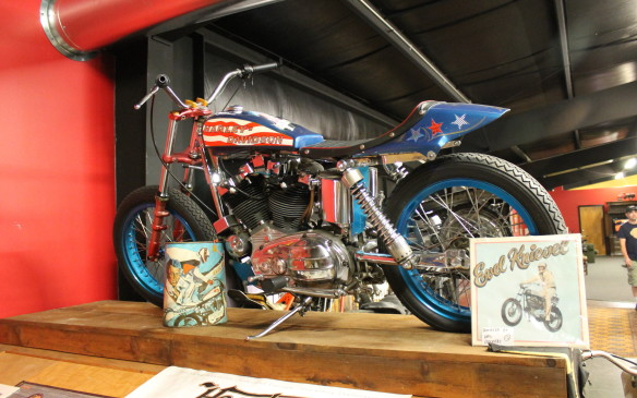 <p>Evel Knievel jumped this Harley as part of his stunt show, and it was restored afterward by his official bike painter. It was one of several he'd take to a jump. If something didn't feel right, he'd choose a different bike.</p>