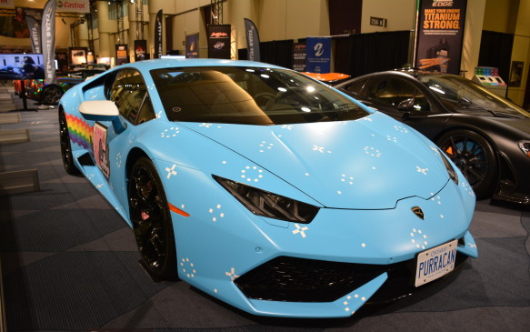 <p>The name Nyanborghini Purracan is definitely odd, but as some of you may know, this is the customized Lamborghini Huracán owned by Canadian electronic music artist and producer Deadmau5. The Purracan is a polarizing presence that stands out from any crowd, and truly is one of the most noticeable, and possibly most popular cars at this year's show.</p>