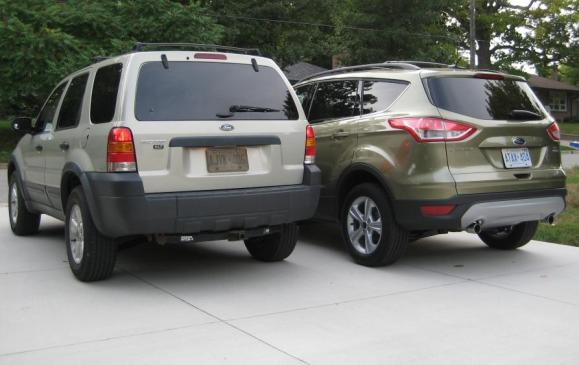 2013 Ford Escape - with 2005 Escape, rear 3/4 views
