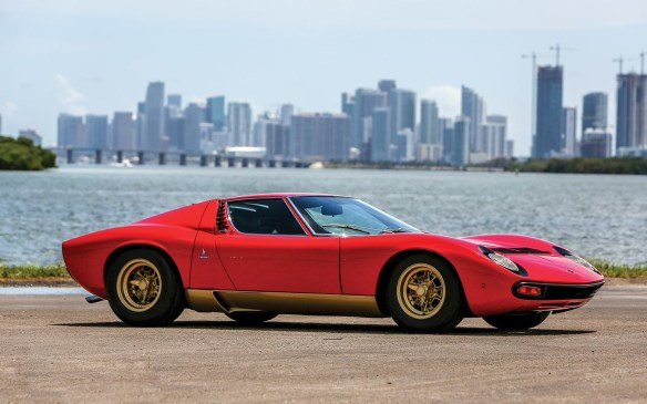 <p>The immediate predecessor of the Countach, the Lamborghini Miura with its transverse-mid-mounted V-12 engine was arguably the first supercar, as well as one of the most beautiful ever. This Bertone-bodied SV model was one of the last 10 built and remains in well-preserved, very original condition, with just 25,000 believed actual miles on it. It's anticipated to sell for<strong> $1.9-to-$2.2-million</strong> (USD) at RM Sotheby's.</p>