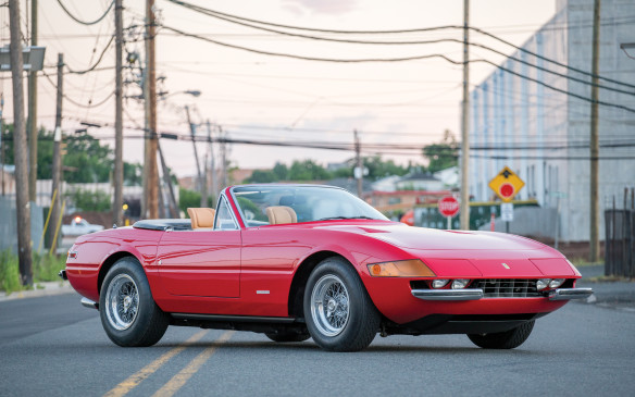 <p>This is no 'Miami Vice' clone. It's the real thing - a 1973 Ferrari 365 GTS4 Daytona Spider by Scaglietti - and as such it sold for $2,365,000 (USD).</p>