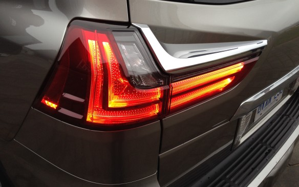<p>The rear end of the LX 570 has been redesigned as well with the addition of dramatic LED tail-lights and a new bumper. The taillights have been specifically shaped to help smooth airflow around the rear of the vehicle.</p>