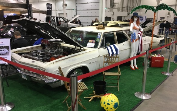 <p>With 700-plus horsepower on tap, this 1966 Chevy Impala wagon can certainly get to the beach in a hurry. While the paint job is original (and somewhat tired), no expense has been spared on the powertrain, starting with the destroked 454-cubic-inch V-8 engine and 671 supercharger.</p>
