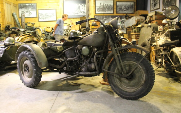 <p>Not all three-wheeled Harleys were raced. This 1941 shaft-drive knucklehead trike is one of only 16 built. They were used by the Canadian army in World War II.</p>