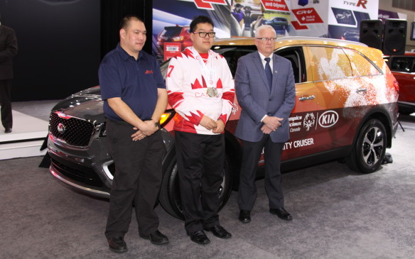 <p>Kia Canada announced a multi-year pledge of support as the official national automotive partner of Special Olympics Canada. Vincent Li, Special Olympics BC (floor hockey, softball, soccer, bowling), Alex Pang, Special Olympics BC (figure skating) and Dan Howe, President and CEO, Special Olympics BC, were on hand.</p>
