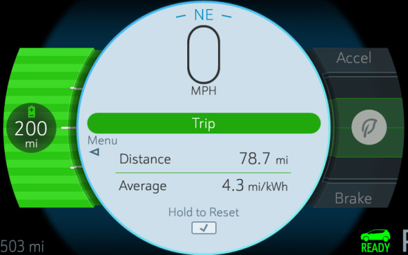 <p>The driver info screen can show the essential trip information, including your average consumption of stored electrons. More data is accessible through related menus in the infotainment system and a mobile application lets you track the Bolt EV's vital signs and compare data with other owners.</p>