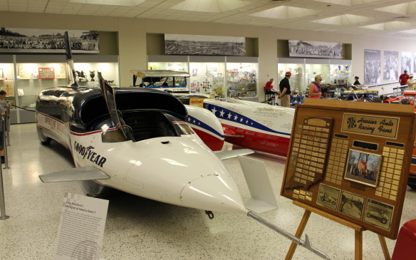 <p>Perhaps the largest vehicle ever displayed in the museum – and one of the most imposing – was Craig Breedlove's 1965 Spirit of America Sonic 1 land-speed record car. Breedlove set a new record of 600.601 mph (966.574 km/h) on November 15, 1965, and it stood until 1970 when it was broken by a rocket-powered car.</p>