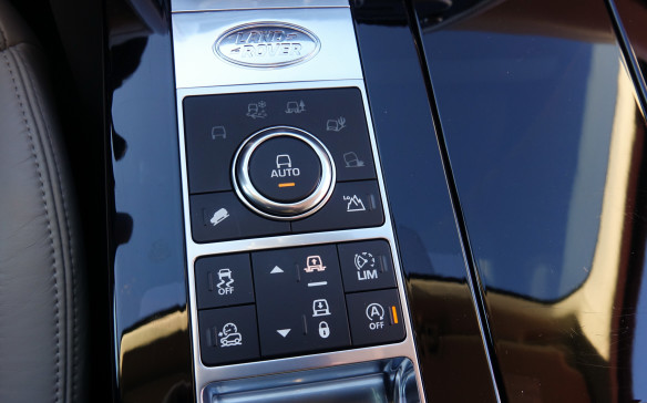 <p>On the centre console, the main control knob lets you pick between the Terrain Response 2 system's automatic and five distinct driving modes for: normal driving, slippery surfaces (grass, gravel and snow), mud and ruts, sand and rock crawl. The adjoining switches are for the hill descent system and low range. The largest switch makes the optional air suspension raise or lower the vehicle and two more, at the left, will help you turn the ATPC or electronic stability control systems on or off. It all works rather well, with minimal lag.</p>