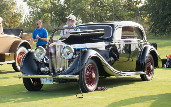 <p>Among the beauties in the European Classics class was this rare 1936 Bentley 4¼ Litre Pillarless Coupe, built by Gurney Nutting and trimmed specifically for the Canadian market, to which it was delivered in 1936.</p>