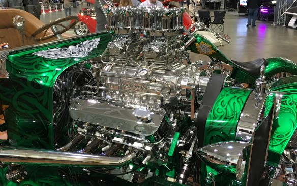 "<p>This glittering ""organic green"" 1923 T-Bucket, dubbed ""That's It,"" features a supercharged 7.4-litre Chevy V-8 that cranks out 850 horsepower. It's joined on the stand by a custom cycle, also finished in the same paint scheme.</p>"