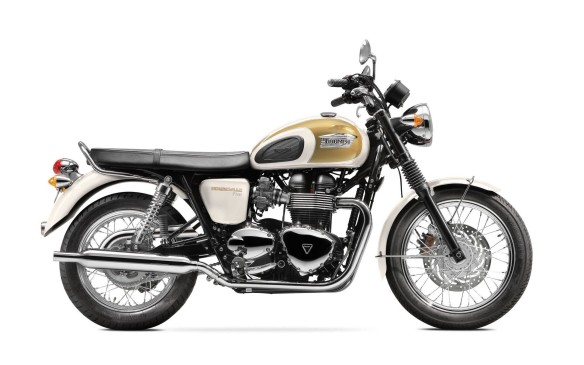 <p><strong>First choice: Triumph Bonneville T100 ($10,599)</strong> - A parallel twin just like the original Bonnie of half-a-century ago, the new Bonneville is a thoroughly up-to-date 865-cc fuel-injected machine, with modern reliability, handling and comfort. You can buy a basic Bonnie for $9,099, but the T100 is much more attractive, with twin peashooter exhausts, two-tone paint and spoked wheels. There are even three different special editions available this year, with just 25 of each coming to Canada.</p>