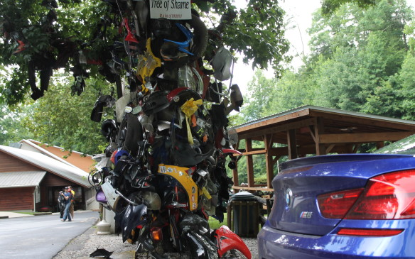 <p>The Tree of Shame outside the motel is covered in pieces of broken motorcycles and cars, damaged in wrecks on the Tail of the Dragon.</p>